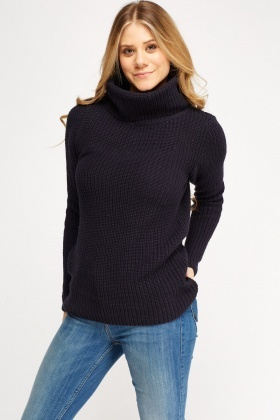 Cowl Neck Loose Knit Jumper