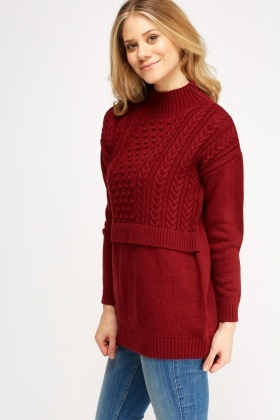 Knitted High Neck Casual Jumper