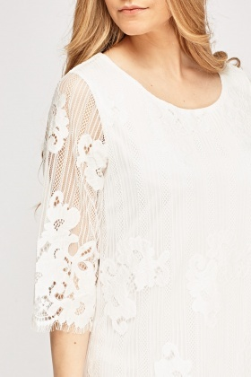Lace Overlay 3/4 Sleeve Dress