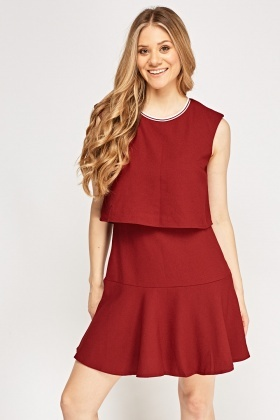 Overlay Textured Flared Hem Dress