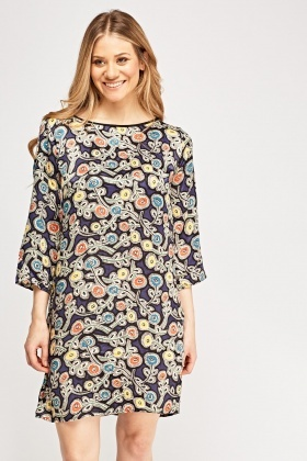 Printed Silky Shift Dress