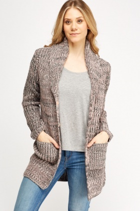 Speckled Knitted Button Up Cardigan