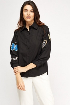 Butterfly Appliqué Casual Shirt