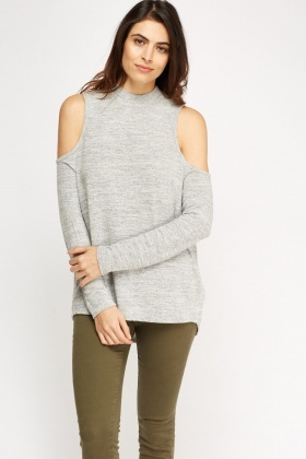 Cut Out Shoulder High Neck Top