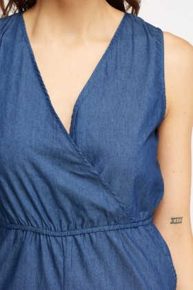 Denim Blue Wrapped Front Playsuit