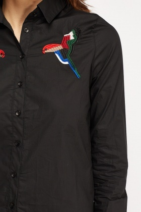 Embroidered Bird Casual Shirt
