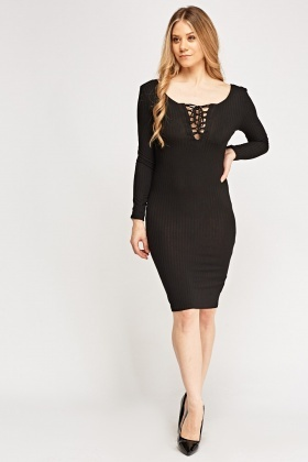 Lace Up Neck Ribbed Dress