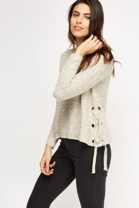 fba7ba944b Lace Up Sides Knitted Jumper - Just £5