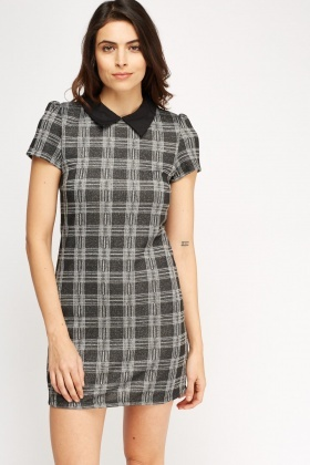 Metallic Checked Shift Dress