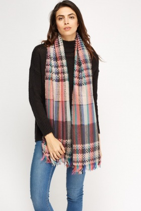 Multi Checked Scarf