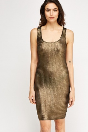 Ribbed Metallic Bodycon Dress