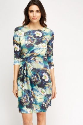 Ruched Front Floral Printed Dress