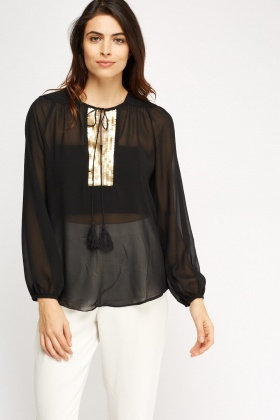 Sequin V-Neck Sheer Top