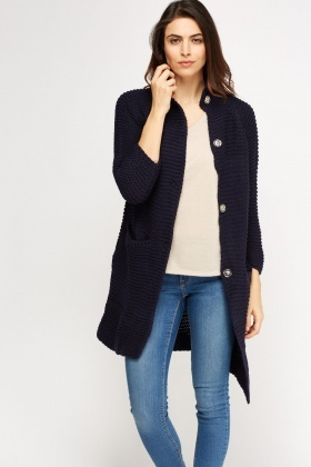 Textured Button Up Longline Cardigan