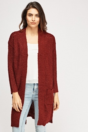 Bobble Loose Knit Long Cardigan
