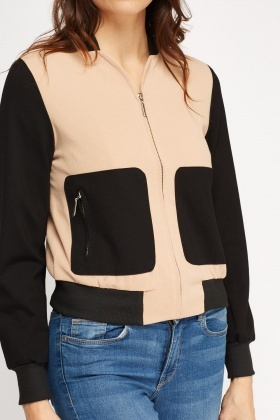 Colour Block Casual Bomber Jacket