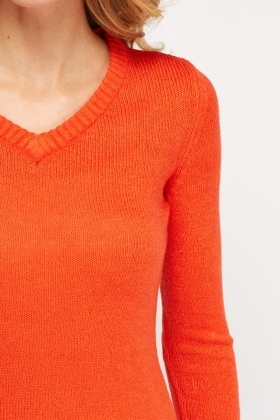 Knitted V-Neck Jumper