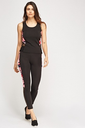 Printed Contrast Top And Leggings Sports Set