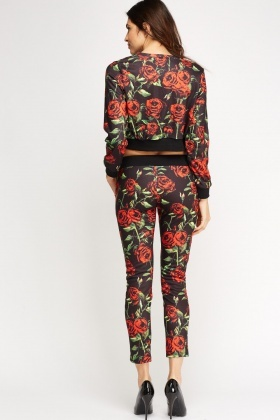 Rose Printed Top And Trousers Set