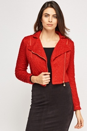 Sequin Insert Crop Jacket