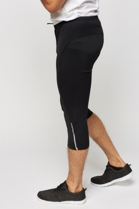 Black Padded Cycling 3/4 Shorts