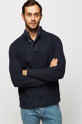 Button Neck Speckled Casual Jumper