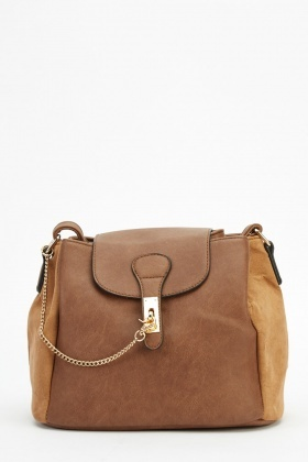 Faux Leather Bucket Contrast Cossbody Bag