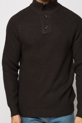 High Button Neck Ribbed Jumper