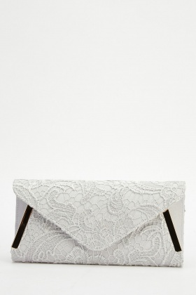 Lace Contrast Clutch Bag