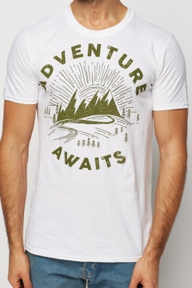Printed White Casual T-Shirt