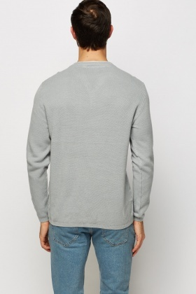 Button Neck Textured Sweater