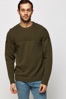 Contrast Knitted Casual Jumper