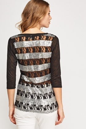 Embellished Contrast Back Top