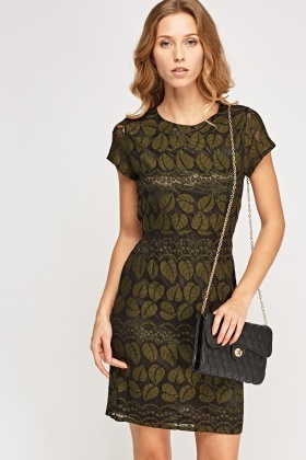 Leaf Mesh Overlay Dress