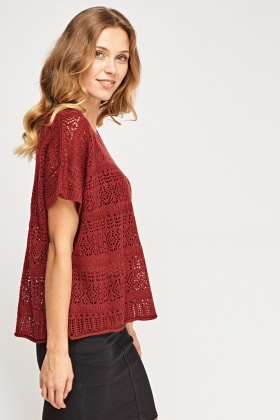 Loose Knit Burgundy Top