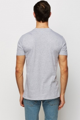 Printed Front Grey Casual T-Shirt