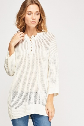 Ribbed Lace Up Neck Jumper
