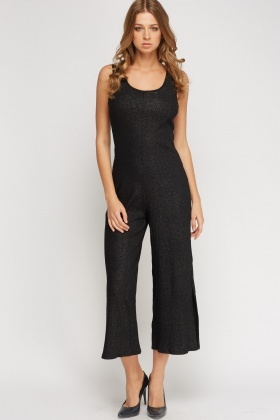 Ribbed Metallic Insert Jumpsuit
