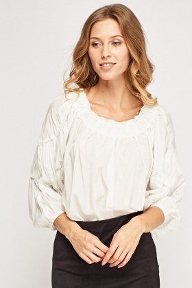 Ruched Trim Flared Top