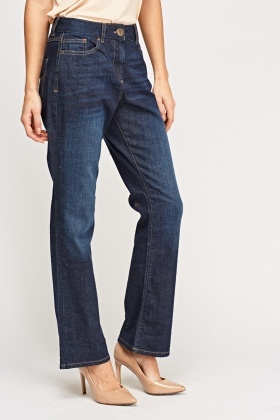 Washed Denim Blue Straight Leg Jeans