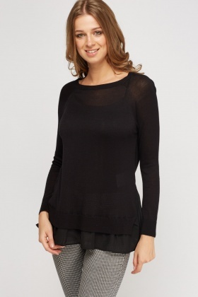 Contrast Hem Knitted Top