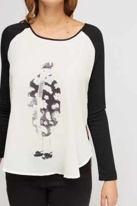 Contrast Printed Front Top