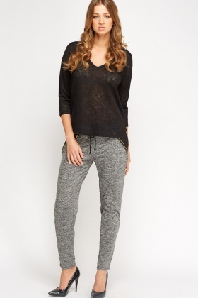 Contrast Speckled Casual Trousers
