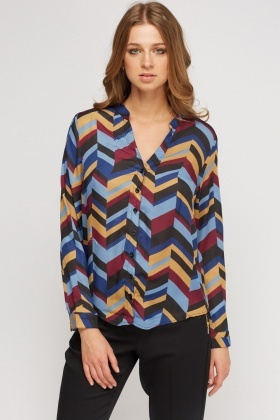 Geo Printed Sheer Blouse