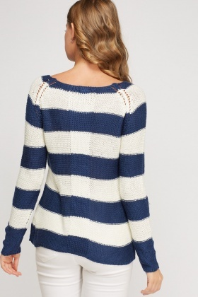 Loose Knit Striped Pullover