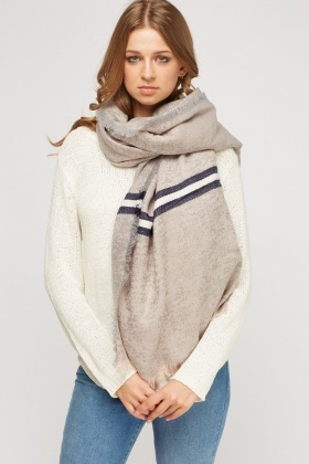 Mix Knit Fringed Hem Scarf