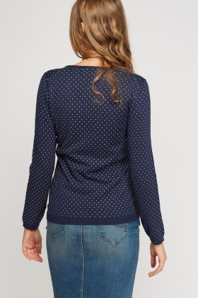 Polka Dot V-Neck Sweater