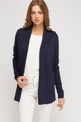 Ruched Sleeve Open Front Cardigan