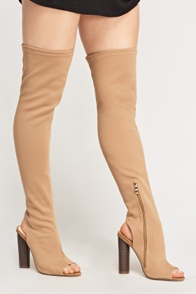 Peep Toe Over The Knee Boots