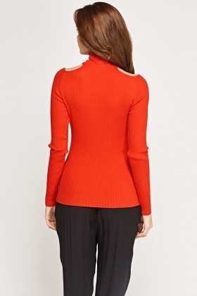 Cut Out Shoulder Ribbed Top